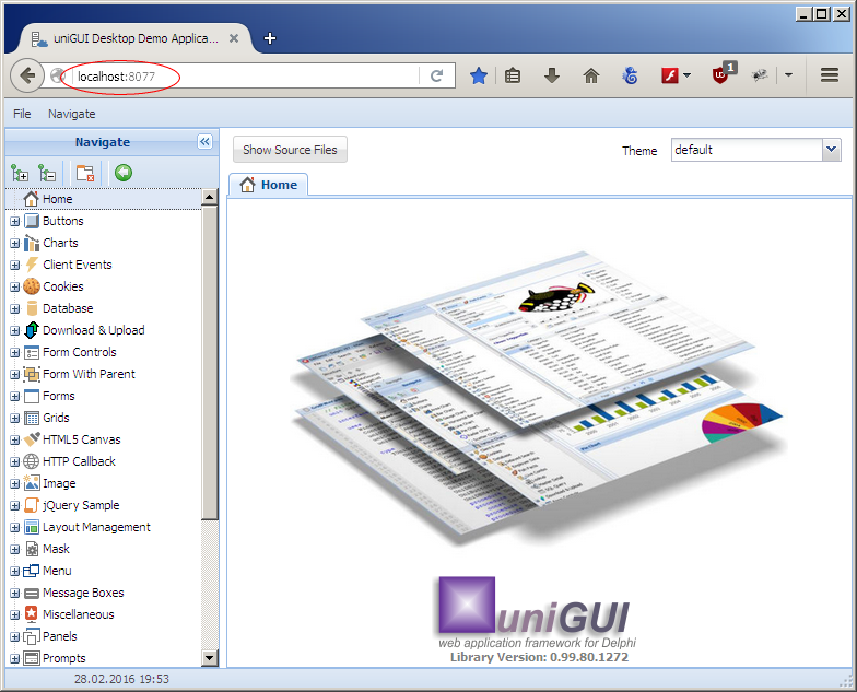 uniGUI application running