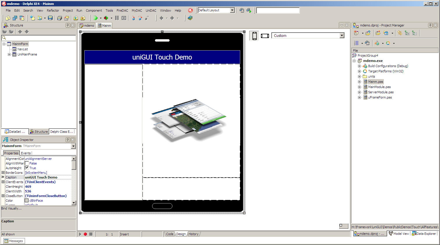 uniGUI Mobile web application in IDE