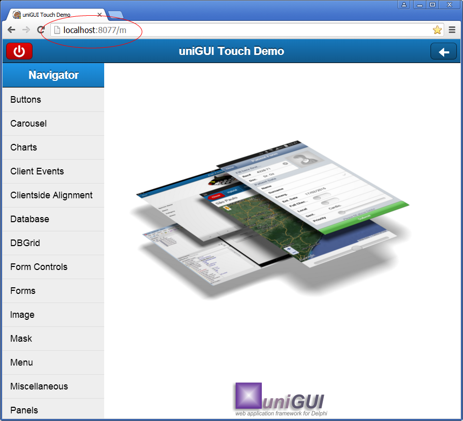 uniGUI mobile app in Google Chrome browser